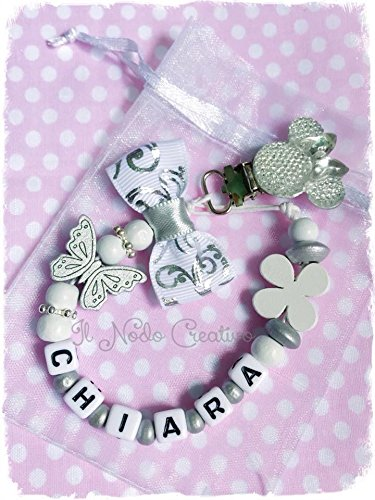 Chain holder pacifier silver white | customizable name