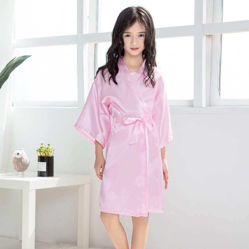 Toddler Baby Kids Girls Solid Silk Satin Kimono Robes Bathrobe Sleepwear Clothes GUTTRAR