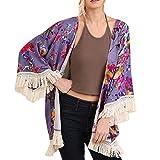 NUWFOR Womens Three Quarter Sleeve Floral Printed Shawl Tassel Kimono Cover Up Cardigan(Purple,L)