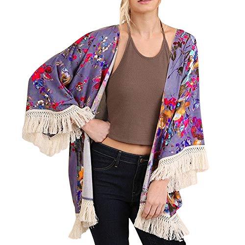 NUWFOR Womens Three Quarter Sleeve Floral Printed Shawl Tassel Kimono Cover Up Cardigan(Purple,L) by NUWFOR (Image #7)