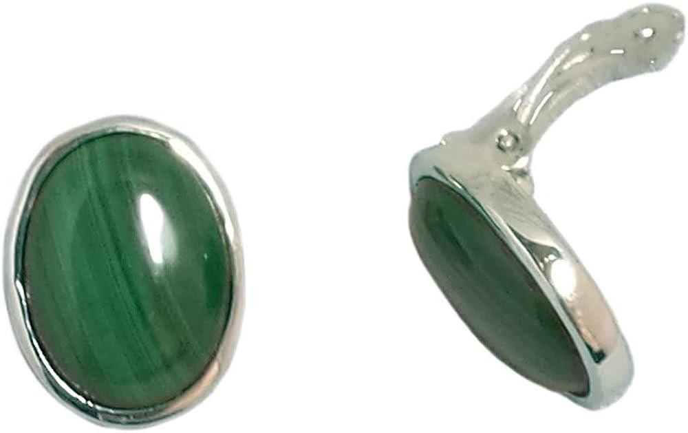 Bijoux et Objets - Pendientes de clip malaquita, plata maciza 925 - Tamaño de piedra 12x16mm