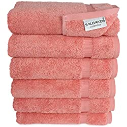 SALBAKOS Luxury Hotel & Spa Turkish Cotton 6-Piece Eco-Friendly Hand Towel Set 16 x 30 Inch, Coral