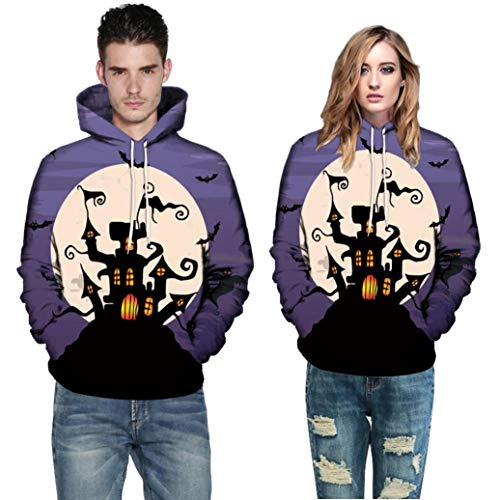 Halloween Costume Autumn Warmer Long Sleeve Couples Hoodies Top Blouse Shirts Sweatshirt Men Women (L, Purple) by Appoi Halloween Men's and Women's Tops