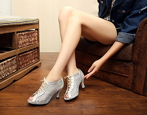 Minitoo - Zapatillas de danza para mujer plata