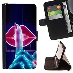 Momo Phone Case / Flip Funda de Cuero Case Cover - Labios del beso Sign Shush Sensual Red - LG Nexus 5 D820 D821