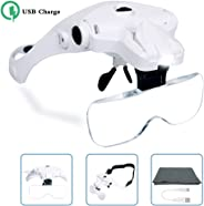 Hands Free Headband Magnifying Glass, USB Charging Head Magnifier with LED Light Jewelry Craft Watch Hobby 5 Lenses 1.0X 1.5