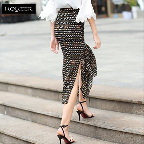 Imprim FuweiEncore Et Fendue Noir Longue Moulante Taille Droite Haute Femme Jupe 87qz8r