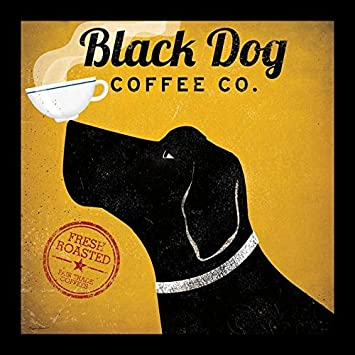 Buyartforless IF IF WA 10000 12×12 Wblack 1.5 Glass Framed Black Dog Coffee Co. by Ryan Fowler Art Print Poster, 12 X 12