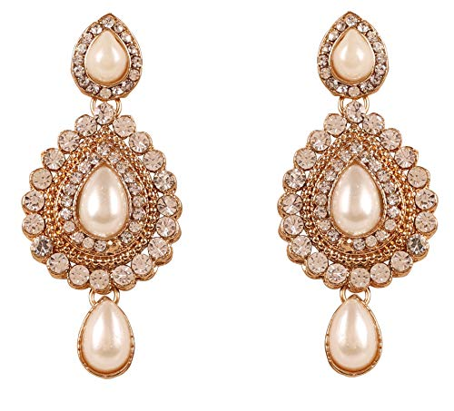 Touchstone New Indian Bollywood Desire Contemporary Studded Diamond Look White Rhinestone Faux Pearls \Designer Jewelry Chandelier Earrings in Antique Gold Tone for Women