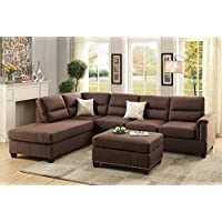 Benzara BM168778 Polyfiber Sectional Sofa with Ottoman, Brown/Choco