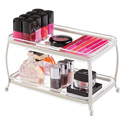 Cosmetics Jewelry Fashion (mDesign Traditional Fashion Jewelry and Cosmetic Organizer Tray for Bathroom Vanity Countertops - 2 Tiers, Satin/Clear)