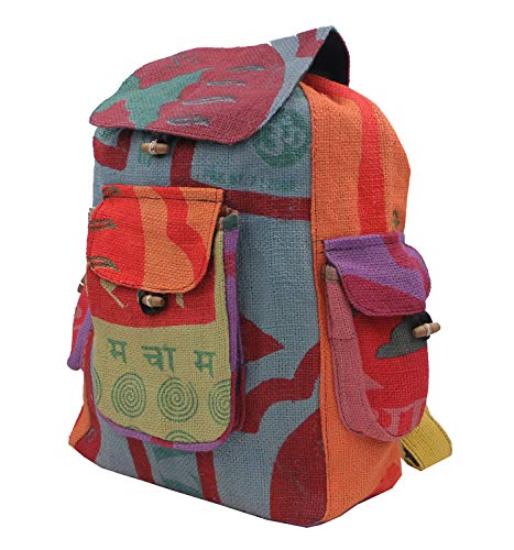 (KayJayStyles Hippie Recycled Jute Rice Bag Backpack Hand Made)
