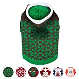 """Blueberry Pet Let It Snow Classic Ugly Christmas Holiday Snowflake Pullover Hoodie Dog Sweater in Green, Back Length 12"""", Pack of 1 Clothes for Dogs"""