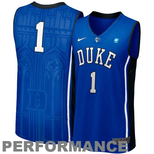 688d6634b130 Nike Duke Blue Devils  1 Titanium Elite Aerographic Tackle Twill Basketball  Performance Jersey-Duke