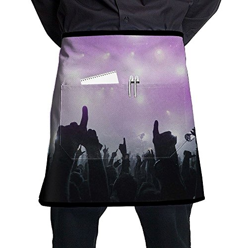 Waist Short Apron Half Chef Apron Music Concert Funny Art Cooking Apron With Pockets Home Kitchen Cooking Pinafore -