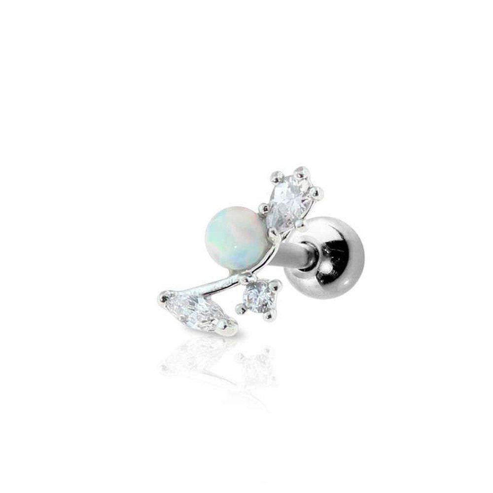 Dynamique 316L Surgical Steel Cartilage Barbell With Flower Opal Sold Per Piece