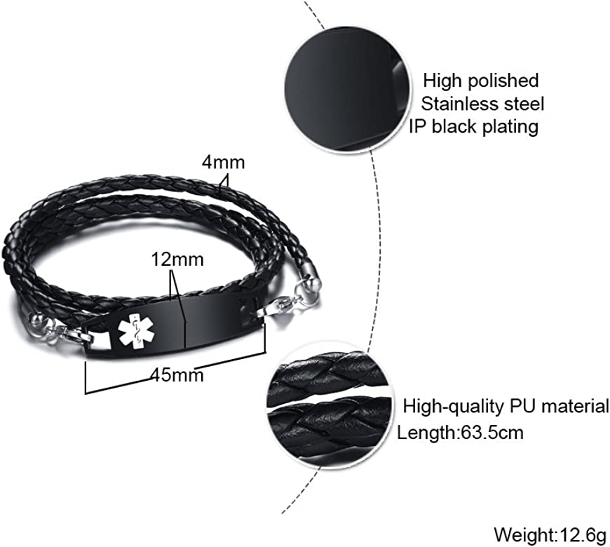 XUANPAI Free Custom Engraving Multilayer Braided Leather Bangle Bracelet for Men Women,8.3