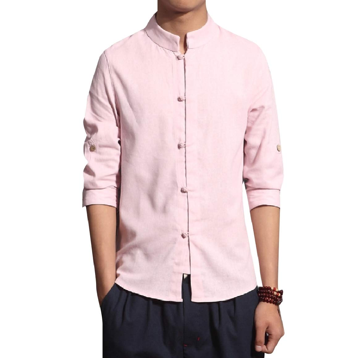 RomantcMen Linen Oversize Chinese Style Pure Color Tee Polo Shirt