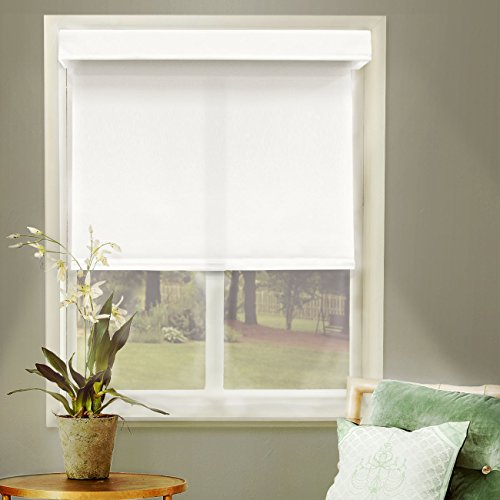 White Roller Blind (Chicology Free-Stop Cordless Roller Shades / Blind Curtain Drape, No Tug, Thermal, Room Darkening - Mountain Snow, 35