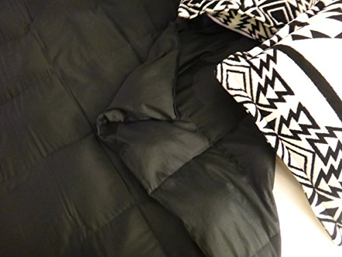 6 Foot Twin Large Weighted Blanket by Lifetime Sensory Solutions, Weighted Sensory Blanket for Teens and Adults (20 lb for 150 lb user, Black Sateen)