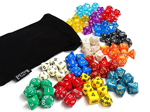 Easy Roller Dice Polyhedral Dice for Dungeons and Dragons and Math Dice Games, 105 Pieces, 15 Complete Sets with Dice Bag, Color may vary (High Roller Dice)