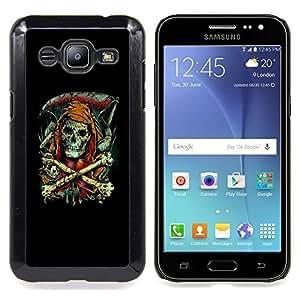 - Grim Reaper - Goth Skeleton - - Cubierta del caso de impacto con el patr??n Art Designs FOR Samsung Galaxy J2 Queen Pattern