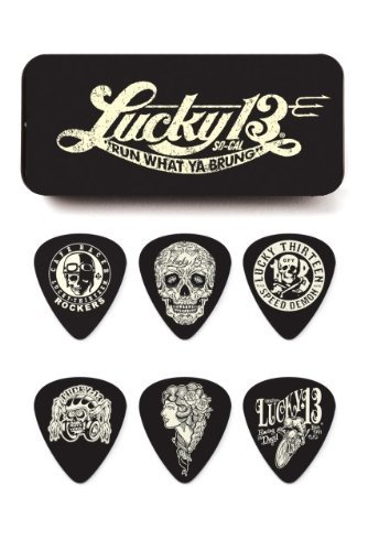 Dunlop L13CT.73 Lucky 13 Pick Tin, Assorted, .73mm, 6 Picks/Tin