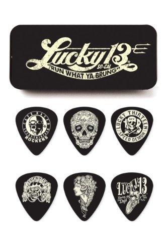 Skull Guitar Bag - Dunlop L13CT.73 Lucky 13 Pick Tin, Assorted, .73mm, 6 Picks/Tin