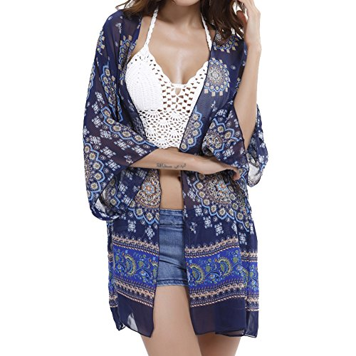 (Ladies Sheer Chiffon Floral Printed Boho Beach Cover Up Lightweight Kimono Cardigan Blouse Shorts)