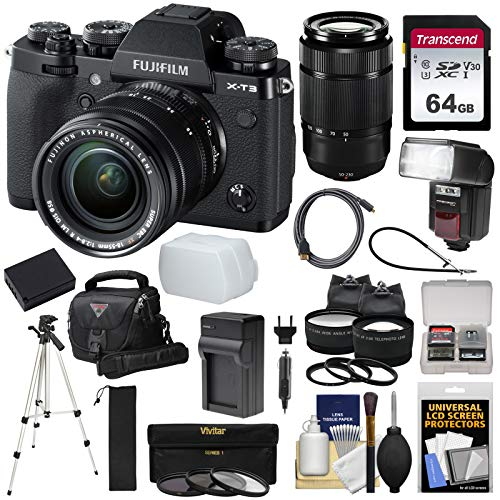 Fujifilm X-T3 4K Wi-Fi Digital Camera & 18-55mm XF Lens (Black) with 50-230mm Lens + 64GB Card + Battery/Charger + Case + Flash + Tripod + 2 Lens Kit