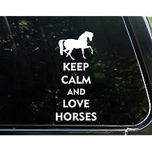 "Keep Calm And Love Horses - 3 3/4""x 8 1/4"" - Vinyl Die Cut Decal / Bumper Sticker For Windows, Trucks, Cars, Laptops, Macbooks, Etc."