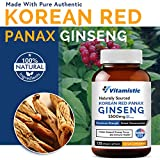 Vitamistic Organic Korean Red Panax Ginseng 1500mg, 120 Veggie Capsules, Max Strength with High Ginsenosides, Non-GMO Gluten Free Dairy Soy Free, Supports Energy, Focus and Immune Function