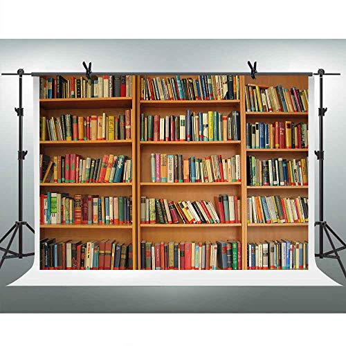 FHZON 7x5ft Bookshelf Backdrop Library Scene Photography Background