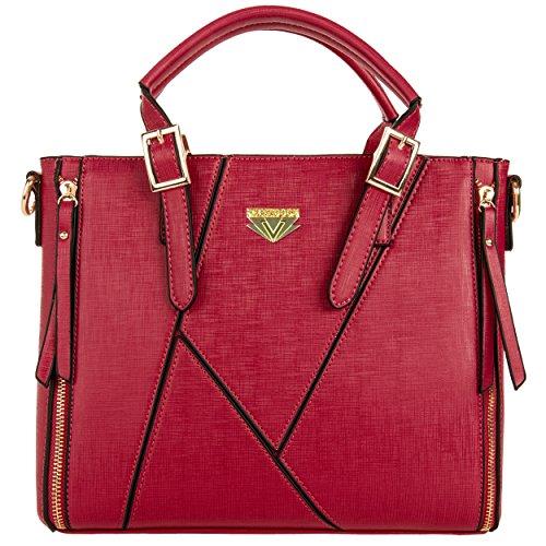 Vangoddy Pallia Designer Women's Satchel Handbag (Red)