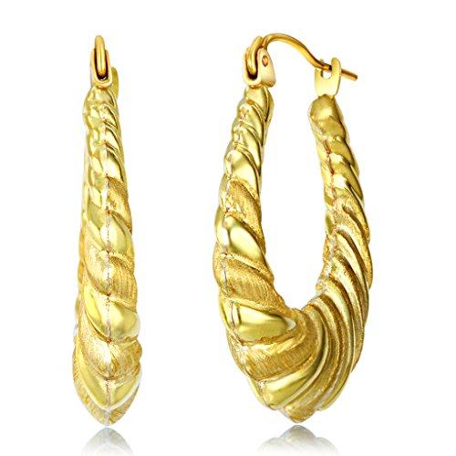 Hollow Fancy Earrings - Wellingsale Ladies 14k Yellow Gold Polished Diamond Cut Fancy Hollow Oval Hoop Earrings (25 X 29mm)