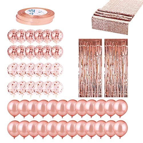 Posh Party Rose Gold Party Decorations 53Pcs - Rose Gold Party Supplies Include 24 Rose Gold Balloons, 24 Confetti Balloons, 2 Rose Gold Foil Curtains, 2 Rose Gold Ribbons, 1 Rose Gold Table Runners