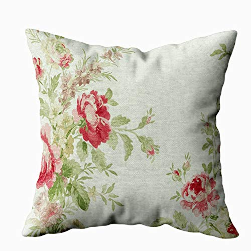 Capsceoll vintage floral print pink flowers Decorative Throw Pillow Case 16X16Inch,Home Decoration Pillowcase Zippered Pillow Covers Cushion Cover with Words for Book Lover Worm Sofa Couch (Print Floral Couch)
