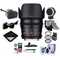 Rokinon 50mm T1.5 Cine DS Lens for Canon EF Mount - Bundle With 77mm Filter Kit, Peak Lens Changing Kit Adapter, LensAlign MkII Focus Calibration System, FocusShifter DSLR Follow Focus And More