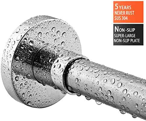 BRIOFOX Shower Curtain Rod 42-72 Inches, Spring Tension + Super-large Non-slip Plate Shower Rod Non-Fall Down, Never Rust 304 Stainless Steel Use for Bathroom Kitchen Home Never Collapse No drilling