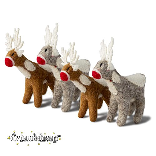 Friendsheep Santa's Reindeer - Christmas Hanging Ornament by Eco-friendly Handmade Fair Trade Sustainable- 100% Premium Organic New Zealand Wool (4, ()