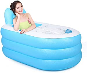 Portable Foldable Adult SPA Inflatable Bathtub Free Standing Bath Tub with Electric Air Pump (Blue)