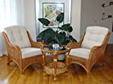 Jam Rattan Wicker Living Room Set 3 Pieces Colonial (Light Brown) 2 Lounge Chairs Coffee Table w/Cream Cushions