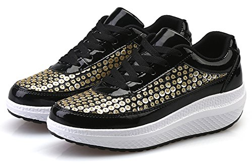 Ausom Femmes Cool Paillettes Forme Ups Swing Chaussures Minceur Plate-forme Cales Marche Fitness Sneaker Noir