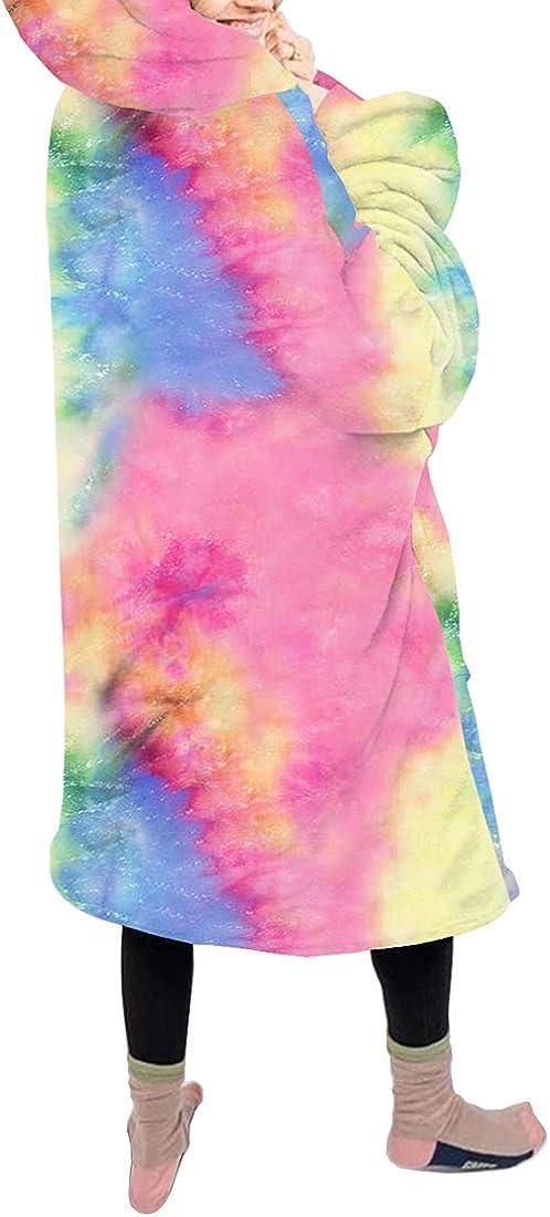 Vertvie Übergroße Hoodie Sweatshirt Mit Kapuze Decke Plüsch Dicke TV Decke mit Ärmeln Warm Bequem Pullover Robe Flanell Riesenpullover mit Fronttasche für Frauen Herren M