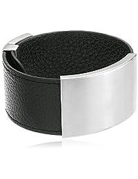Adjustable Black Leather Identification Bracelet