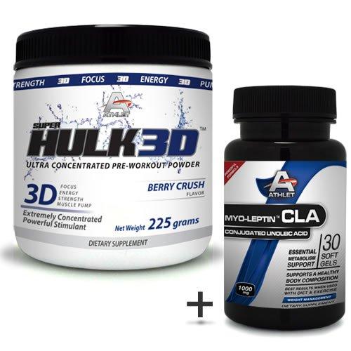 Athlet savoir Hulk3d pré-entraînement Poudre 225 gr Berry Crush-f ocus sans CLA