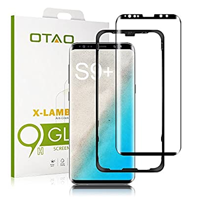 """OTAO Galaxy S9 Plus Screen Protector Tempered Glass, [Update Version] 3D Curved Dot Matrix [Full Screen Coverage] Samsung Galaxy S9 Plus Screen Protector (6.2"""") with Installation Tray [Case Friendly]"""