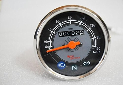 RS Vintage Parts EBY0460 Royal Enfield Speedometer 0-160 Kph Black & Gray
