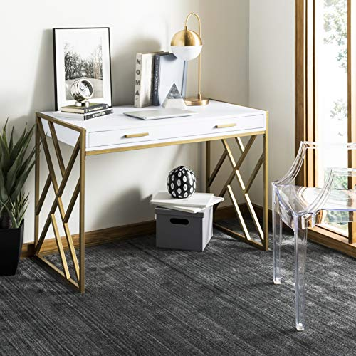 - Safavieh DSK2201A Home Collection Elaine Desk, White and Gold
