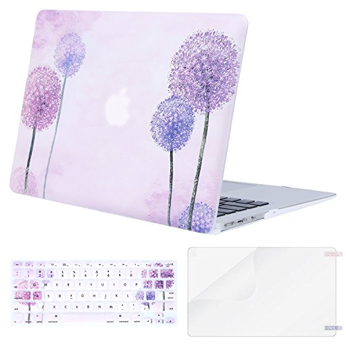 MOSISO MacBook Air 13 Inch Case (Release 2010-2017 Older Version), Plastic Pattern Hard Case & Keyboard Cover & Screen Protector Only Compatible MacBook Air 13 (A1369 & A1466), Purple Dandelion